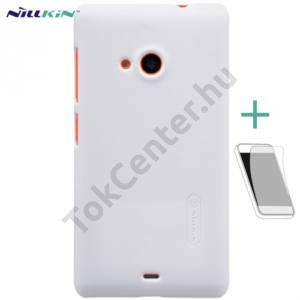 Microsoft Lumia 535 NILLKIN SUPER FROSTED műanyag telefonvédő (gumírozott, érdes felület, képernyővédő fólia, tisztítókendő) FEHÉR