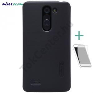 LG L80+ L Bello (D331)  NILLKIN SUPER FROSTED műanyag telefonvédő (gumírozott, érdes felület, képernyővédő fólia, tisztítókendő) FEKETE