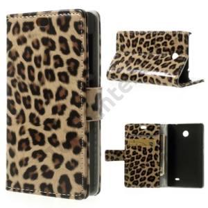 Nokia X Tok álló, bőr (FLIP, mágneses, oldalra nyíló, bankkártya  tartó, asztali tartó funkció) LEOPÁRDMINTÁS