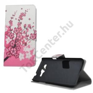 Samsung Galaxy Grand Prime (SM-G530F) Tok álló, bőr (FLIP, mágneses, oldalra nyíló, bankkártya  tartó, asztali tartó funkció, virágminta) FEHÉR