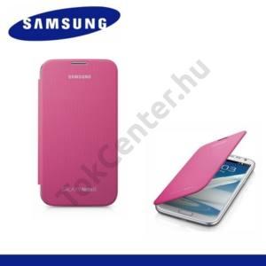Samsung Galaxy Note II. (GT-N7100) Műanyag telefonvédő (FLIP, oldalra nyíló) RÓZSASZÍN