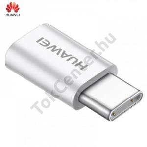 Adapter (microUSB-USB Type-C, töltéshez, adatátvitelhez, OTG) FEHÉR