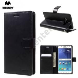 Samsung Galaxy A7 (2016) (SM-A710F) MERCURY BLUE MOON DIARY tok álló, bőr (FLIP, mágneses, oldalra nyíló, asztali tartó funkció) FÉNYES FEKETE