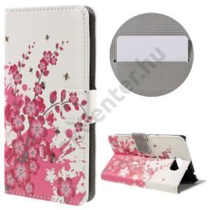 Huawei Y6 II Compact/Y5 II Tok álló, bőr (FLIP, oldalra nyíló, asztali tartó funkció, virágminta) FEHÉR