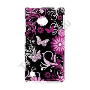 Nokia Lumia 720 Műanyag telefonvédő (gumírozott, pillangó, virágmintás) FEKETE