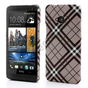 HTC One M7 (810e) Műanyag telefonvédő (textillel bevont, kockás) SZÜRKE
