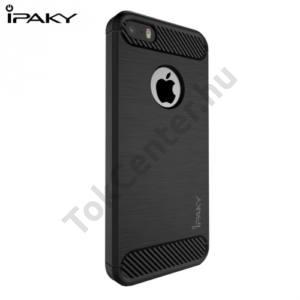 Apple iPhone 5 / 5S / SE IPAKY telefonvédő gumi / szilikon (közepesen ütésálló, szálcsiszolt, karbonminta) FEKETE
