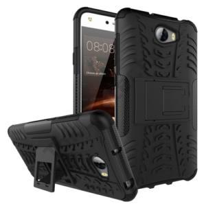 Huawei Y5 II (Y5-2) Defender műanyag telefonvédő (közepesen ütésálló, gumi / szilikon belső, kitámasztó, autógumi minta) FEKETE