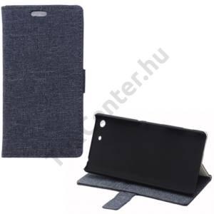 Sony Xperia M5 Tok álló, bőr (FLIP, oldalra nyíló, bankkártya  tartó, asztali tartó funkció, textilminta) SÖTÉTKÉK