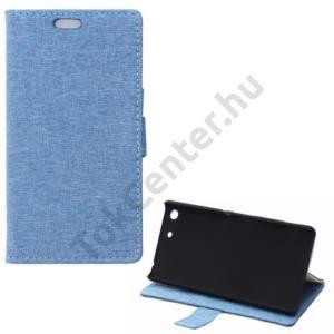 Sony Xperia M5 Tok álló, bőr (FLIP, oldalra nyíló, bankkártya  tartó, asztali tartó funkció, textilminta) VILÁGOSKÉK
