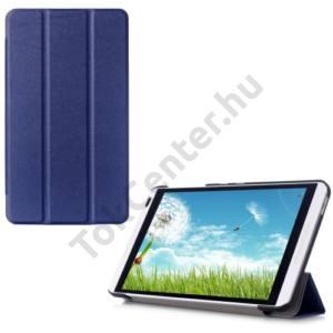 Huawei Mediapad M1 8 (S8-301W) Tok álló, bőr (FLIP, oldalra nyíló, TRIFOLD asztali tartó funkció) SÖTÉTKÉK