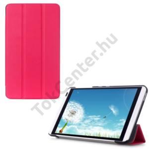 Huawei Mediapad M1 8 (S8-301W) Tok álló, bőr (FLIP, oldalra nyíló, TRIFOLD asztali tartó funkció) RÓZSASZÍN
