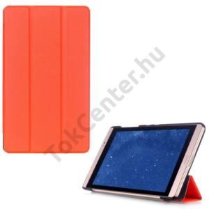 Huawei Mediapad M2 8  Tok álló, bőr (FLIP, oldalra nyíló, TRIFOLD asztali tartó funkció) NARANCS