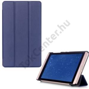 Huawei Mediapad M2 8  Tok álló, bőr (FLIP, oldalra nyíló, TRIFOLD asztali tartó funkció) SÖTÉTKÉK