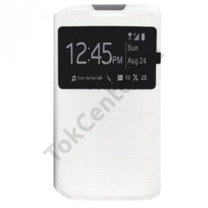 Microsoft Lumia 550 Tok álló, bőr (FLIP, oldalra nyíló, S-View Cover) FEHÉR