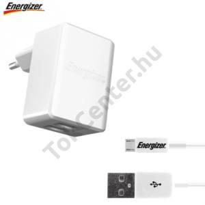 Hálózati töltő 2 x USB aljzat (1x 5V / 1000mA, 1x 5V / 2400mA, microUSB kábel, 100cm, gyorstöltés támogatás) FEHÉR