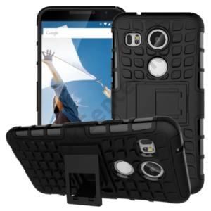 LG Nexus 5X (H791) Defender műanyag telefonvédő (gumi / szilikon belső, kitámasztó, csúszásgátló) FEKETE