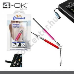 K-OK érintőképernyő ceruza (2db, mini, univerzális, rezisztív kijelző) PIROS/RÓZSASZÍN