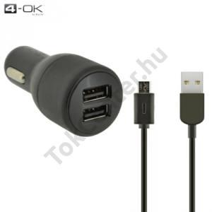 4-OK szivargyújtó töltő/autós töltő 2 x USB aljzat (5V / 4800mA, 12 / 24 V, microUSB adat/töltőkábel) FEKETE