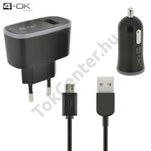 4-OK kezdőcsomag (szivar és hálózati töltő adapter, USB aljzat, 5V / 2100mA, microUSB kábel) FEKETE