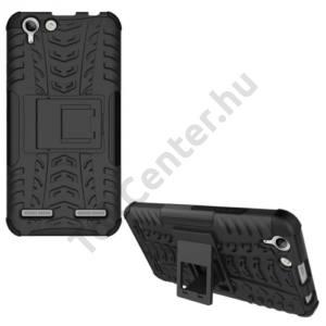 Huawei Y6 II (Y6-2) Defender műanyag telefonvédő (közepesen ütésálló, gumi / szilikon belső, kitámasztó, autógumi minta) FEKETE