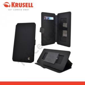 KRUSELL FlipWallet Slide MALMÖ tok álló, bőr (FLIP, univerzális, asztali tartó funkció, csúsztatható, 5XL méret) FEKETE