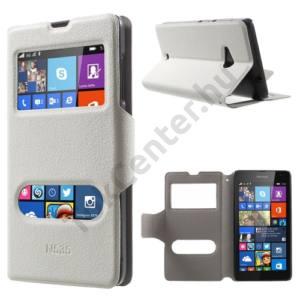 Microsoft Lumia 535 Tok álló, bőr (FLIP, mágneses, oldalra nyíló, asztali tartó funkció, Dual View Window) FEHÉR
