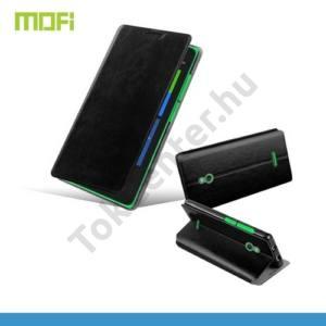 Nokia XL MOFI RUI tok álló, bőr (FLIP, oldalra nyíló, asztali tartó funkció, szilikon tartó) FEKETE