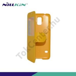 Samsung Galaxy S V. (SM-G900) NILLKIN FRESH műanyag telefonvédő (bőr flip, mágneses, oldalra nyíló, hívószámkijelzés, S-View Cover) SÁRGA
