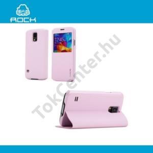 Samsung Galaxy S V. (SM-G900) ROCK UNI tok álló, bőr (FLIP, oldalra nyíló, asztali tartó funkció, hívószámkijelzés, S-View Cover) RÓZSASZÍN