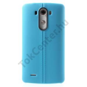 LG G3 (D850) Telefonvédő gumi / szilikon (bőrhatás, varrás minta) VILÁGOSKÉK
