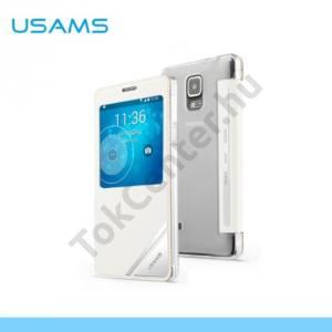 Samsung Galaxy Note 4. (SM-N910C) USAMS VIVA műanyag telefonvédő (bőr flip, műanyag hátlap, oldalra nyíló, View Window) FEHÉR