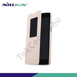 LG L80 (D380) NILLKIN SPARKLE műanyag telefonvédő (mikroszálas bőr flip, oldalra nyíló, hívószámkijelzés, S-View Cover) BÉZS