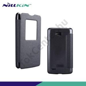 LG L80 (D380) NILLKIN SPARKLE műanyag telefonvédő (mikroszálas bőr flip, oldalra nyíló, hívószámkijelzés, S-View Cover) FEKETE