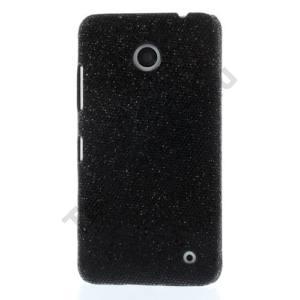Nokia Lumia 630 Műanyag telefonvédő (csillogó, flitteres) FEKETE