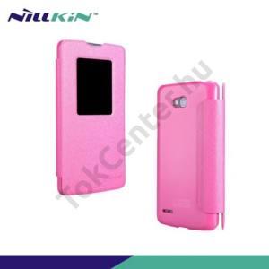 LG L80 (D380) NILLKIN SPARKLE műanyag telefonvédő (mikroszálas bőr flip, oldalra nyíló, hívószámkijelzés, S-View Cover) RÓZSASZÍN