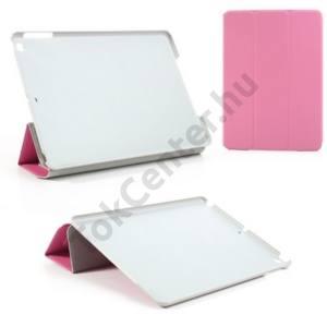 Apple IPAD Air Műanyag telefonvédő (bőr flip, oldalra nyíló, TRIFOLD asztali tartó funkció) RÓZSASZÍN