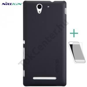 Sony Xperia C3 (D2533) NILLKIN SUPER FROSTED műanyag telefonvédő (gumírozott, érdes felület, képernyővédő fólia, tisztítókendő) FEKETE