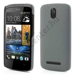 HTC Desire 500 Műanyag telefonvédő (gumírozott, érdes felület) SZÜRKE