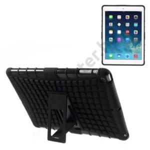 Apple IPAD Air Defender műanyag telefonvédő (közepesen ütésálló, kitámasztó, rácsmintás) FEKETE