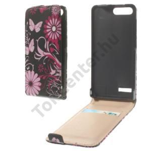 Huawei Ascend G6 LTE 4G Tok álló, bőr (FLIP, mágneses, bankkártya tartó, pillangó, virágminta) FEKETE