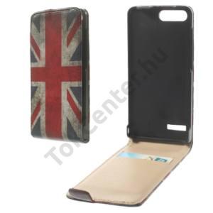 Huawei Ascend G6 LTE 4G Tok álló, bőr (FLIP, mágneses, bankkártya tartó, zászlóminta) BRIT/ANGOL
