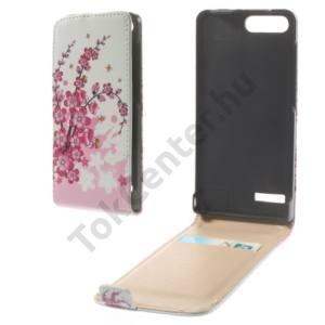 Huawei Ascend G6 LTE 4G Tok álló, bőr (FLIP, mágneses, bankkártya tartó, virágminta) FEHÉR