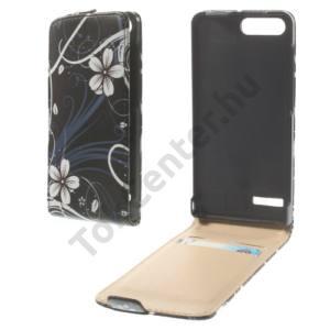 Huawei Ascend G6 LTE 4G Tok álló, bőr (FLIP, mágneses, bankkártya tartó, fehér virágminta) FEKETE