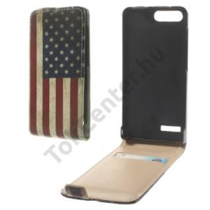 Huawei Ascend G6 LTE 4G Tok álló, bőr (FLIP, mágneses, bankkártya tartó, zászlóminta) USA