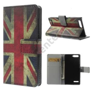 Huawei Ascend G6 LTE 4G Tok álló, bőr (FLIP, mágneses, oldalra nyíló, bankkártya tartó, asztali tartó funkció, zászlóminta) BRIT/ANGOL