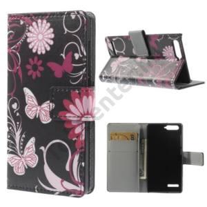 Huawei Ascend G6 LTE 4G Tok álló, bőr (FLIP, mágneses, oldalra nyíló, bankkártya tartó, asztali tartó funkció, pillangó, virágminta) FEKETE
