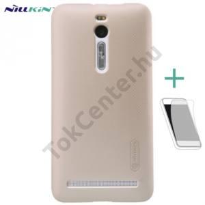Asus Zenfone 2 (ZE551ML) NILLKIN SUPER FROSTED műanyag telefonvédő (gumírozott, képernyővédő fólia, tisztítókendő) ARANY
