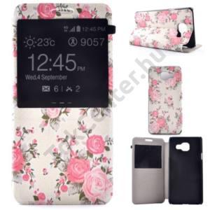 Samsung Galaxy A3 (2016) (SM-A310F) Tok álló, bőr (FLIP, oldalra nyíló, asztali tartó funkció, hívószámkijelzés, View Window, rózsaszín virágminta) FEHÉR