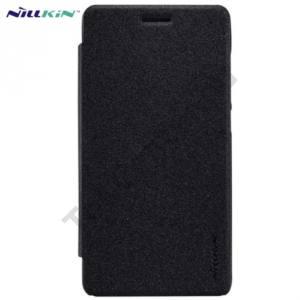 Huawei Honor 4C NILLKIN SPARKLE műanyag telefonvédő (mikroszálas bőr flip, oldalra nyíló) FEKETE